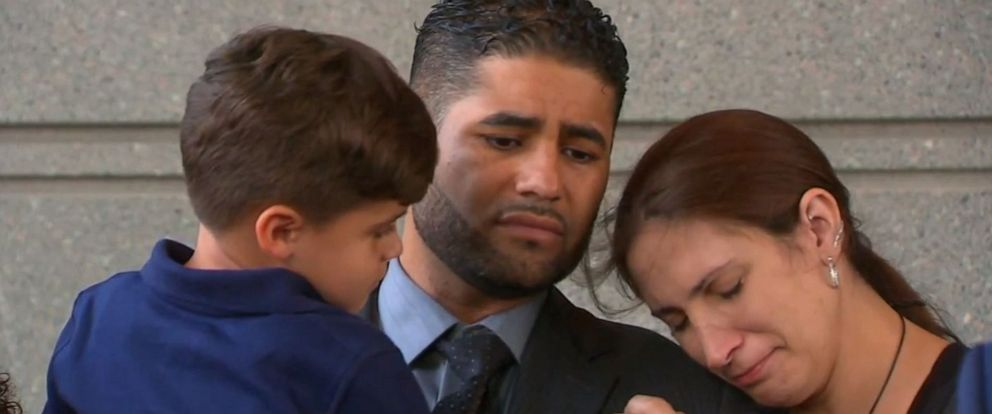 PHOTO: Juan Rodriguez, his wife, and 4-year-old son stand outside the Bronx Hall of Justice on August 1, 2019, after prosecutors said they will not pursue a grand jury indictment at this time in the hot car deaths of his 1-year-old twins.