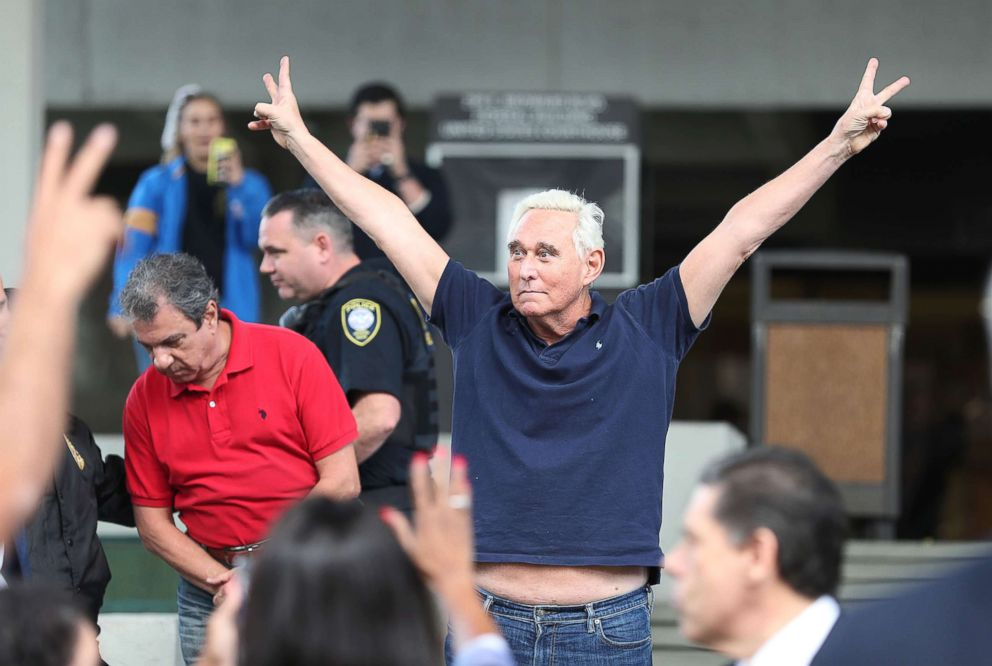 PHOTO: Roger Stone, a former adviser to President Donald Trump, exits the Federal Courthouse on Jan. 25, 2019 in Fort Lauderdale, Fla.