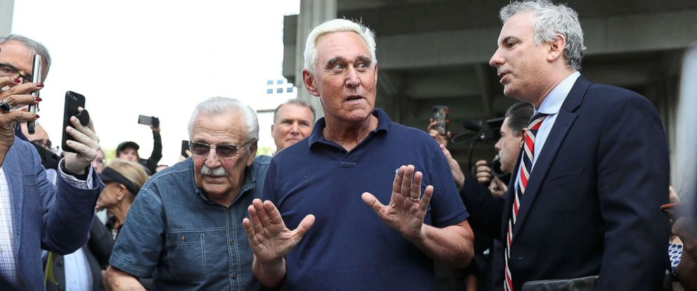 PHOTO: Roger Stone, a former advisor to President Donald Trump, leaves the Federal Courthouse on Jan. 25, 2019 in Fort Lauderdale, Fla.