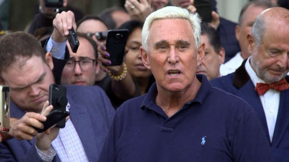 Roger Stone speaks outside the U.S. Federal Building and Courthouse in Fort Lauderdale, Fla., Jan. 25, 2019.