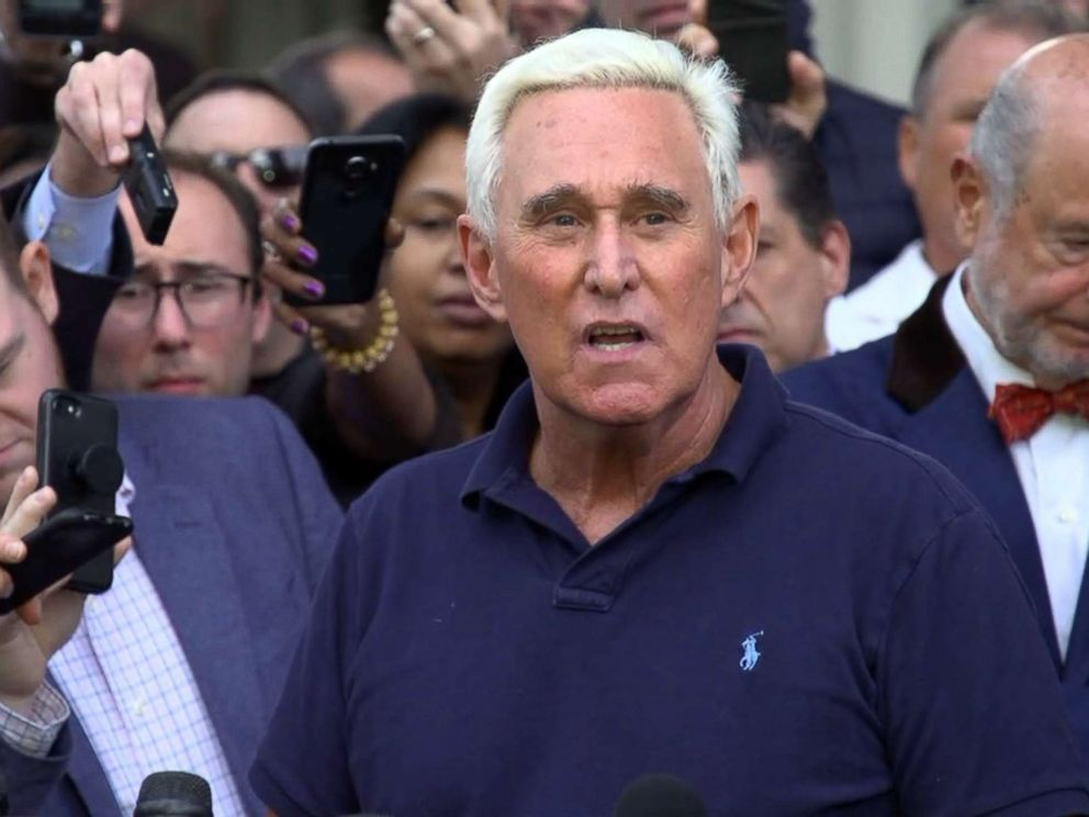 PHOTO: Roger Stone speaks outside the U.S. Federal Building and Courthouse in Fort Lauderdale, Fla., Jan. 25, 2019.