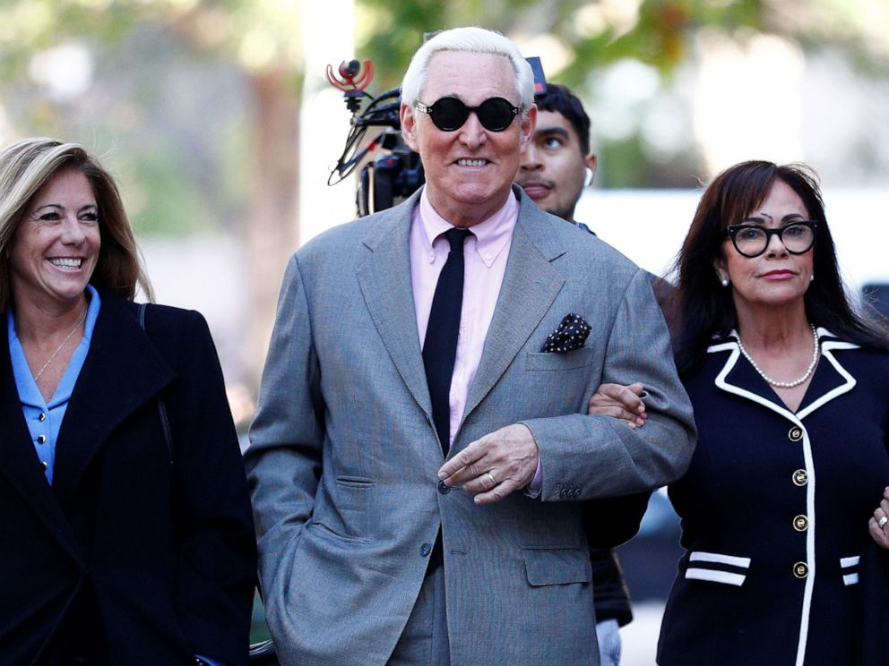 PHOTO: Roger Stone, former campaign adviser to President Donald Trump, arrives for the start of his criminal trial on charges of lying to Congress, obstructing justice and witness tampering at U.S. District Court in Washington, Nov. 5, 2019.