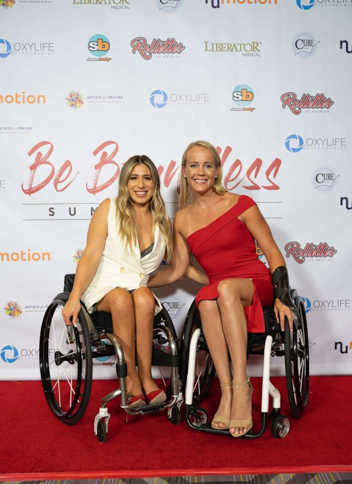 PHOTO: Chelsie Hill with Mallory Weggemann, 2012 London Paralympic Gold Medalist, at Rollettes Experience, August, 2019.