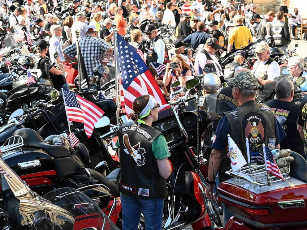 PHOTO: A crowd of motorcyclists is gathered at the Washington National Cathedral for the Blessing of the Bikes, May 24, 2019, in Washington, D.C.