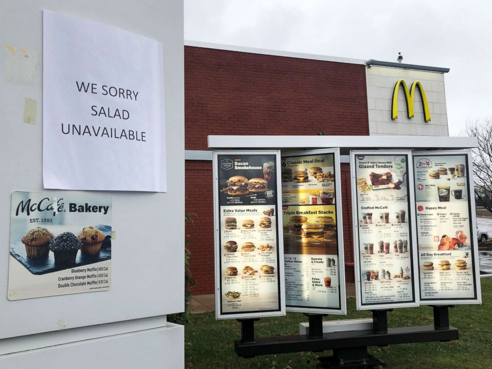 "A sign at the drive-thru at a McDonalds restaurant announces ""We Sorry Salad Unavailable"" in Somerville, Mass., Nov. 26, 2018."