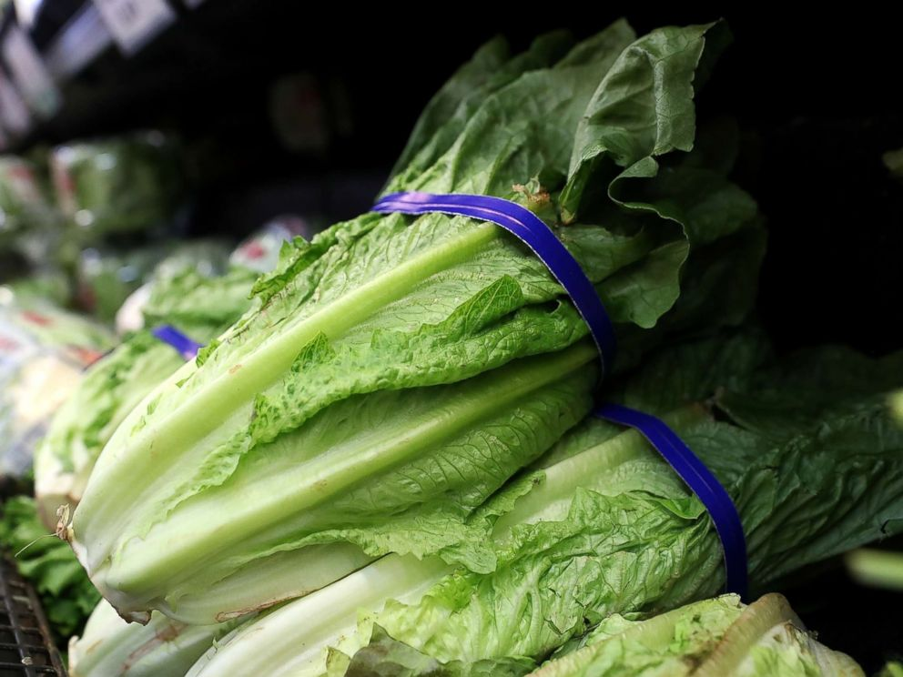 PHOTO: Romaine lettuce is displayed on a shelf at a supermarket, April 23, 2018, in San Rafael, California.