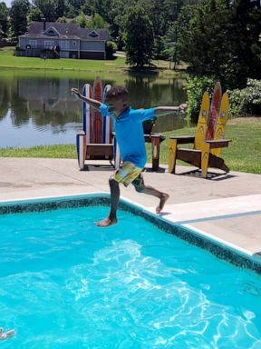 PHOTO: Ron Anthony Hampton, Jr., 5, was captured on video by his father, Ron Hampton, overcoming his fears of jumping off the diving board in Little Rock, Arkansas.