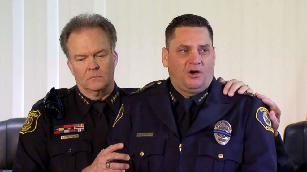 Stanislaus County Sheriff Adam Christianson comforts a tearful Newman, Calif., Police Chief Randy Richardson during a press conference on Dec. 27, 2018.