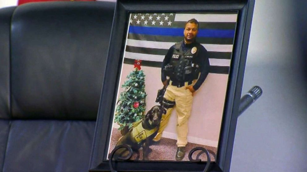 Newman Calif., police officer Ronil Singh is pictured in a photo on display at a press conference about the hunt for his killer, Dec. 27, 2018.