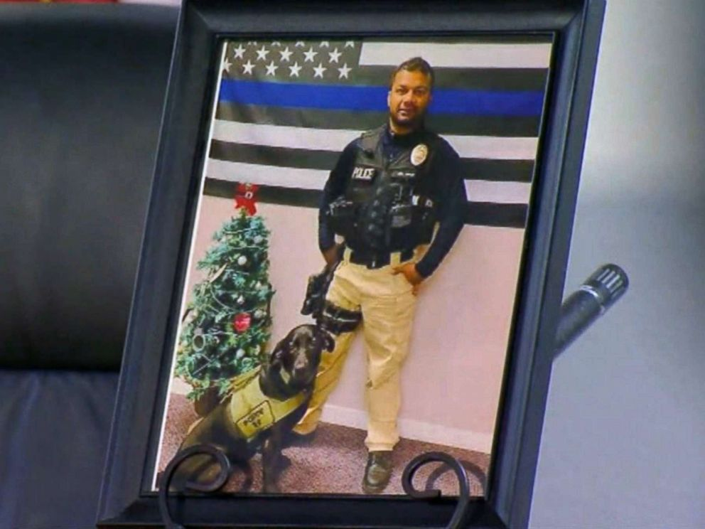 PHOTO: Newman Calif., police officer Ronil Singh is pictured in a photo on display at a press conference about the hunt for his killer, Dec. 27, 2018.