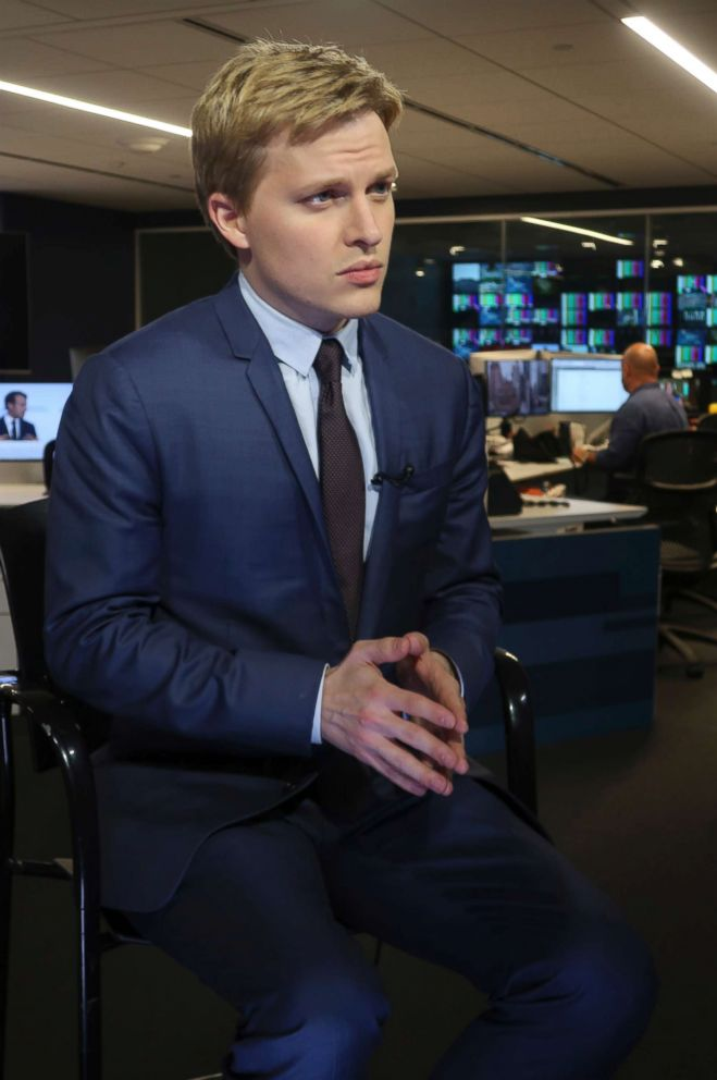PHOTO: Ronan Farrow, a contributing writer for the New Yorker, speaks with reporters at Associated Press headquarters in New York City, July 27, 2018.