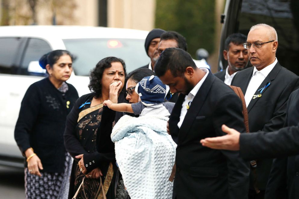 PHOTO: The widow and family members of slain Newman police officer Corporal Ronil Singh arrive for the funeral service at CrossPoint Community Church on Jan. 5, 2019, in Modesto, Calif.