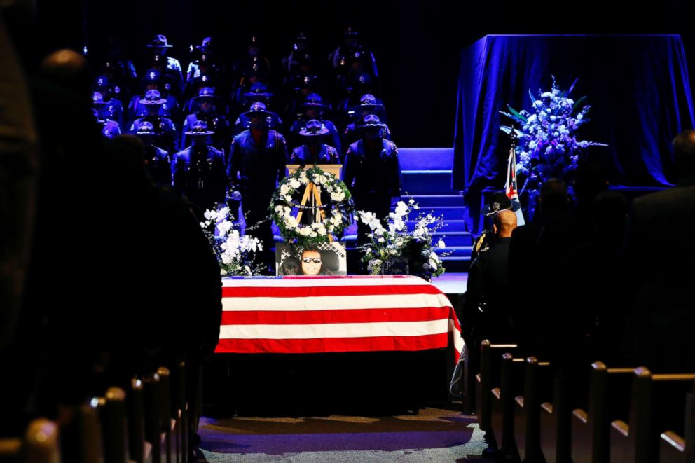 PHOTO: The flag-draped casket of slain Newman police officer Corporal Ronil Singh is seen during a funeral service at CrossPoint Community Church on Jan. 5, 2019, in Modesto, Calif.