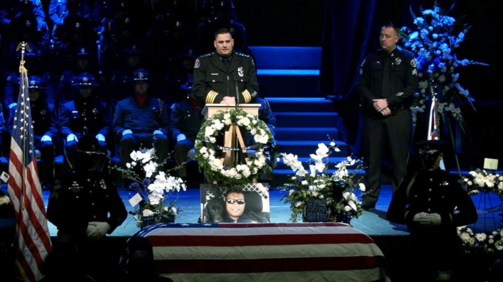 PHOTO: Chief of Newman Police Department, Randy Richardson speaks at the funeral for Newman police officer Ronil Singh in California, Jan. 5, 2019.