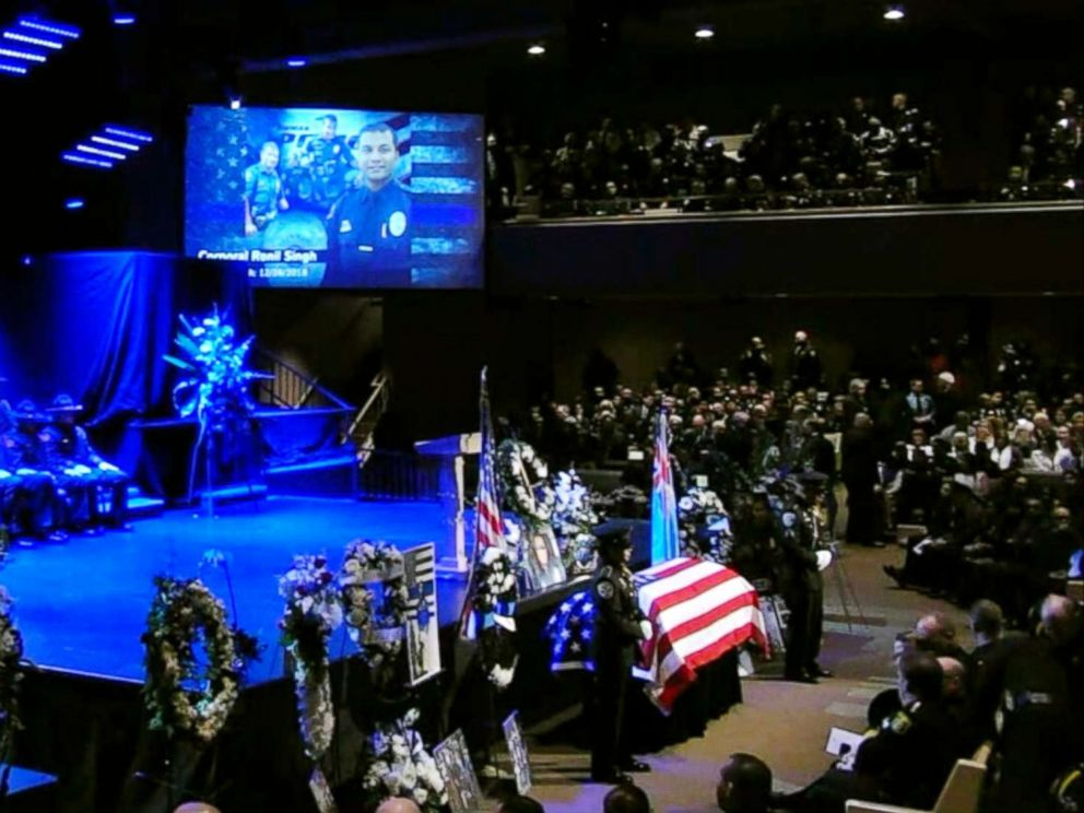 PHOTO: The funeral for slain Newman, California, police officer Ronil Singh is held on Jan. 5, 2019.