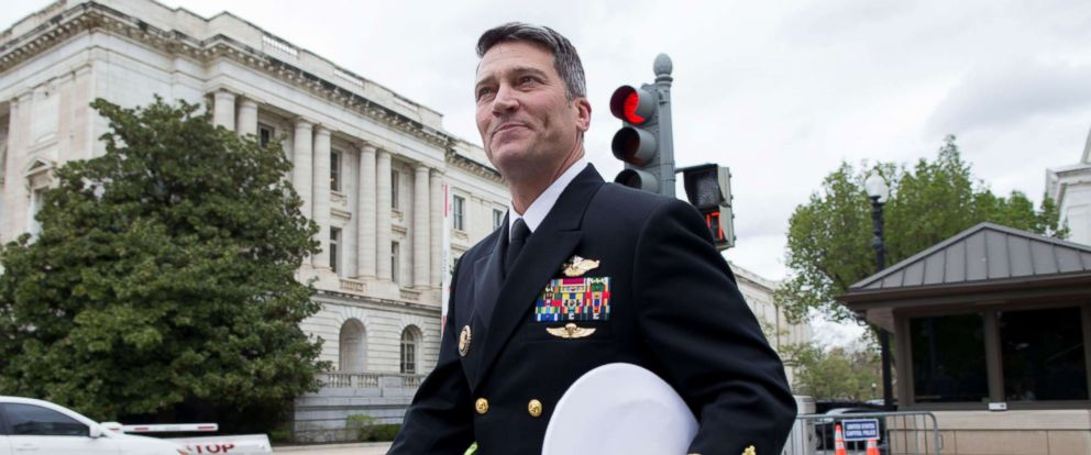 PHOTO: Navy Rear Admiral Ronny Jackson, President Donald Trumps nominee to be Secretary of Veteran Affairs, walks on Capitol Hill following a meeting in the office of Jerry Moran (R-Kan.) in Washington, D.C., April 24, 2018.