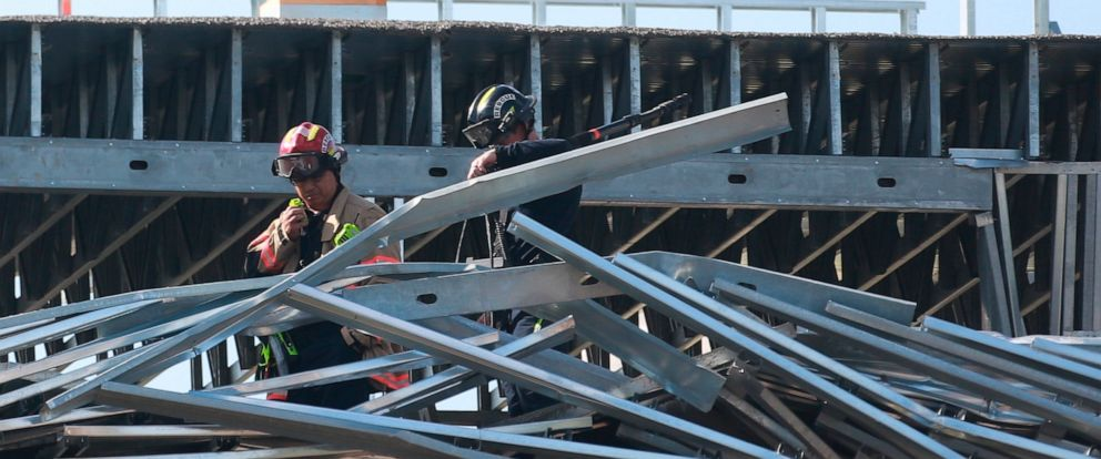 PHOTO: Houston Fire Department firefighters respond and investigate a collapsed mid-rise building under construction on 3400 block of North Main Street, July 29, 2019, in north Houston.