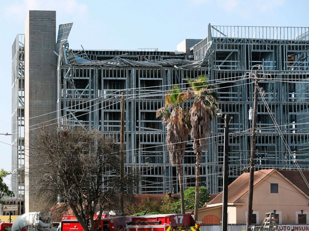 PHOTO: The top of mid-rise building under construction on 3400 block of North Main Street has collapsed on Monday, July 29, 2019, in north Houston.