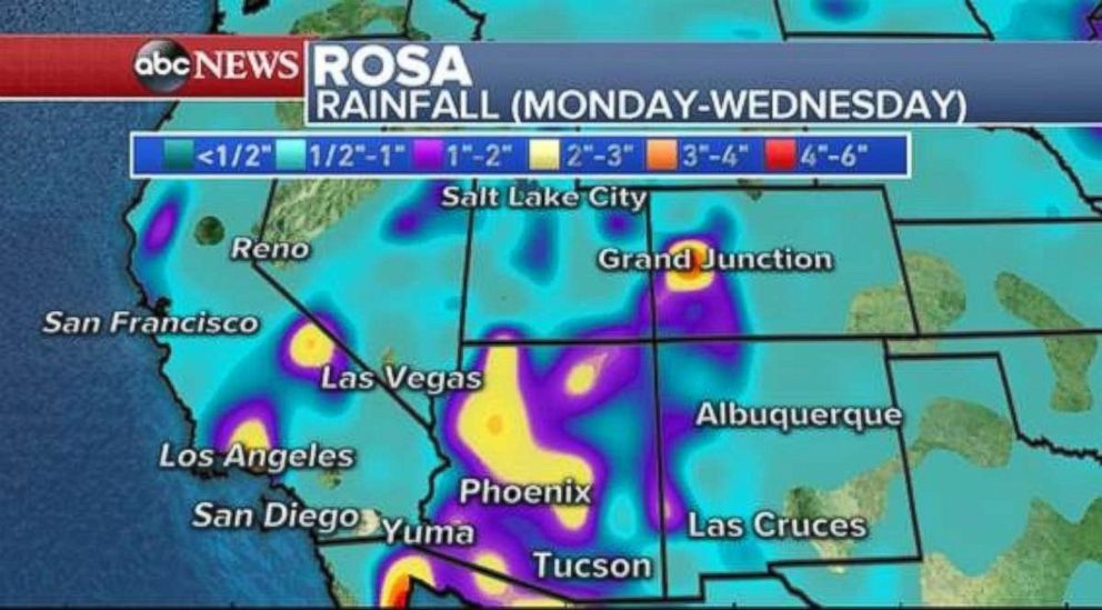 PHOTO: Rainfall from the remnants of Hurricane Rosa will be highest in Arizona.