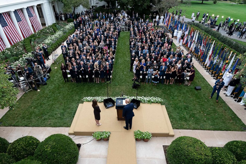 Amy Coney Barrett's rose garden ceremony, aerial shot