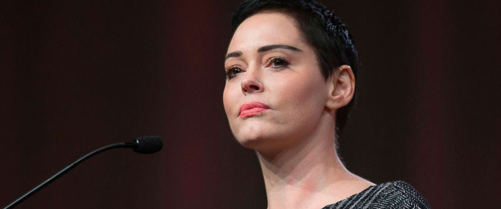 PHOTO: Rose McGowan gives opening remarks to the audience at the Womens March / Womens Convention in Detroit, Oct. 27, 2017.