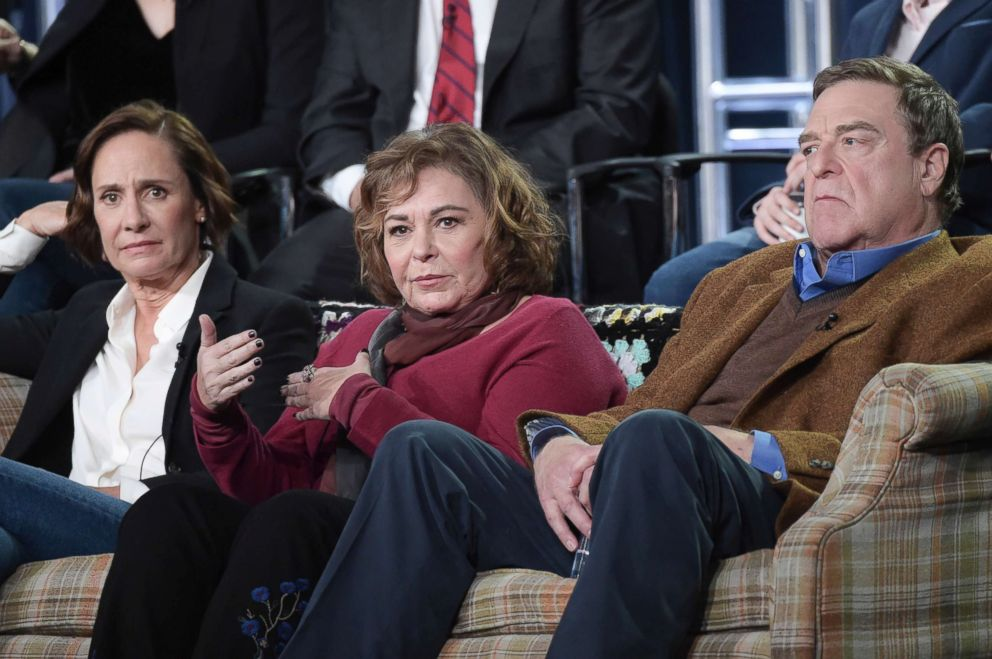 PHOTO: Laurie Metcalf, left, Roseanne Barr and John Goodman participate in the Roseanne panel during the Disney/ABC Television Critics Association Winter Press Tour in Pasadena, Calif. in this Jan. 8, 2018 file photo.