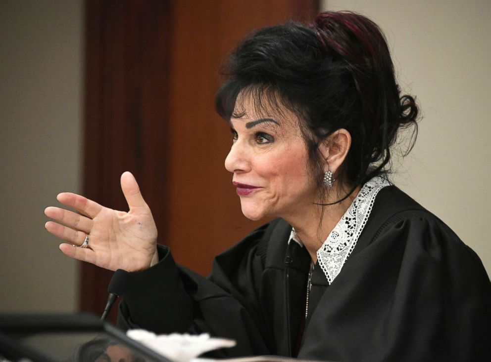 PHOTO: Judge Rosemarie Aquilina talks with former Olympic gold medal gymnast Aly Raisman after she made her impact statement, Jan. 19, 2018, in Lansing, Mich., during the fourth day of sentencing for former sports doctor Larry Nassar.
