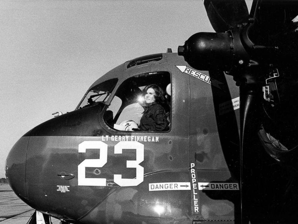 PHOTO: Pilot Rosemary Conatser, later Mariner, sits in the cockpit of an antisubmarine aircraft at Naval Air Station Oceana in Virginia Beach, Va., Jan. 9, 1975.