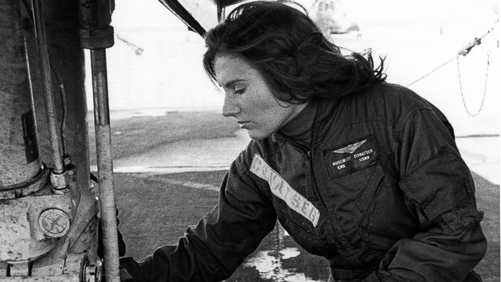 Pilot Rosemary Conatser, later Mariner, conducts a pre-flight check of the main gear of an antisubmarine aircraft at Naval Air Station Oceana in Virginia Beach, Va., circa 1970s.