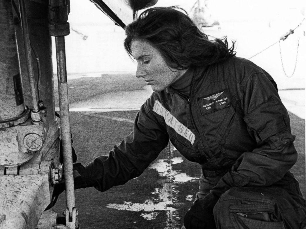 PHOTO: Pilot Rosemary Conatser, later Mariner, conducts a pre-flight check of the main gear of an antisubmarine aircraft at Naval Air Station Oceana in Virginia Beach, Va., circa 1970s.