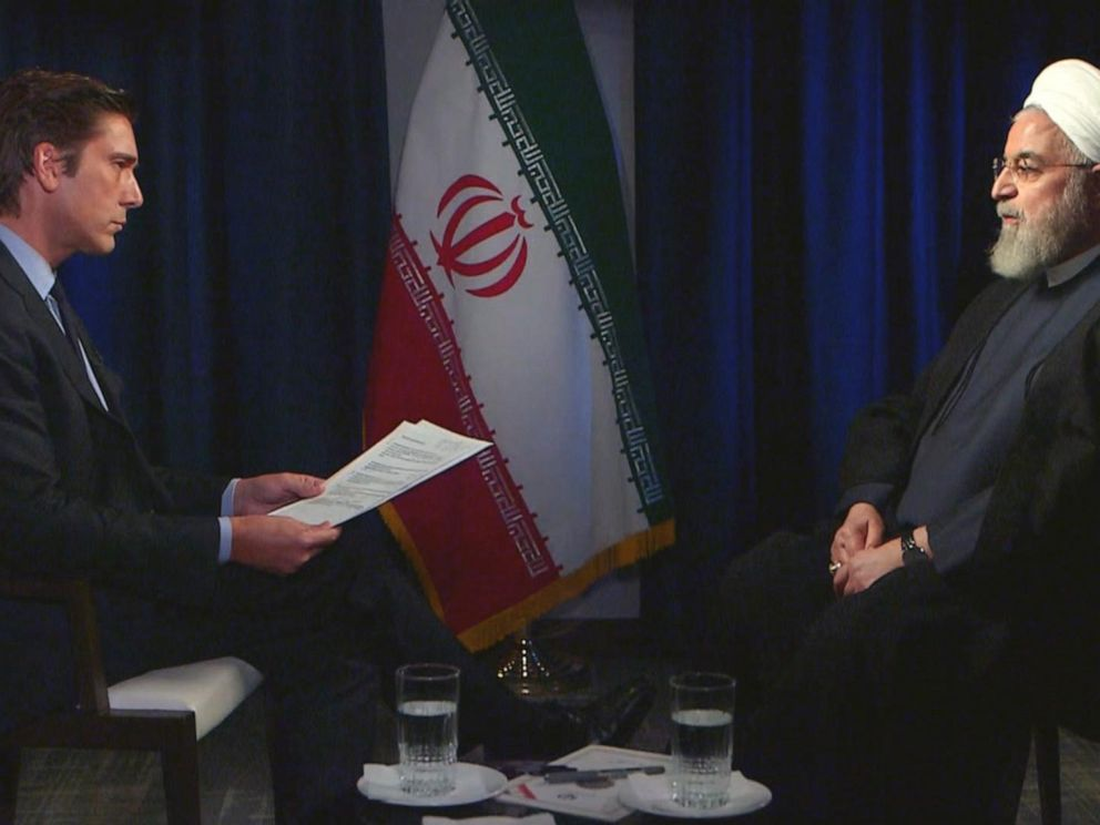 PHOTO: ABC News anchor David Muir spokes to Iran President Hassan Rouhani in a one-on-one interview in New York on Wednesday.