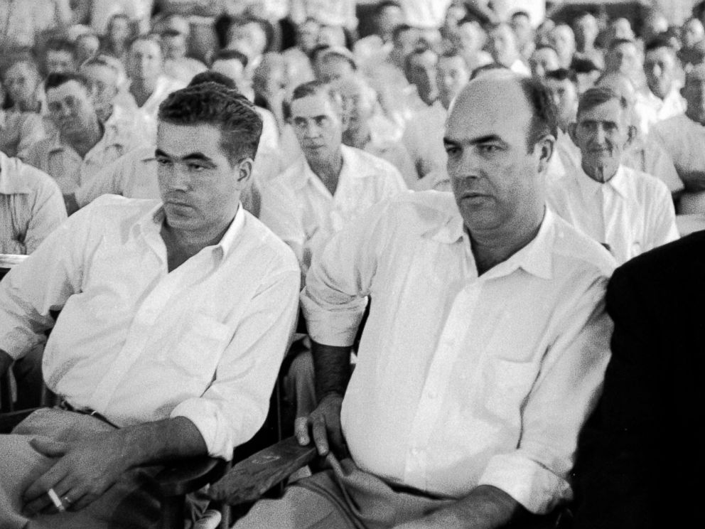 PHOTO: Pictured (L-R), defendants Roy Bryant (1931 - 1994) and J. W. Milam (1919 - 1981) listen to testimony during their murder trial in the packed Tallahatchie County Courthouse in Sumner, Miss., Sept. 1955.