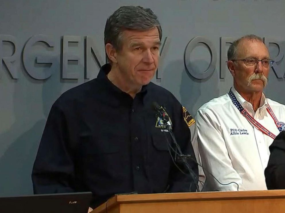PHOTO: North Carolina Governor Roy Cooper gives an update about Hurricane Florence on Sept. 14, 2018.