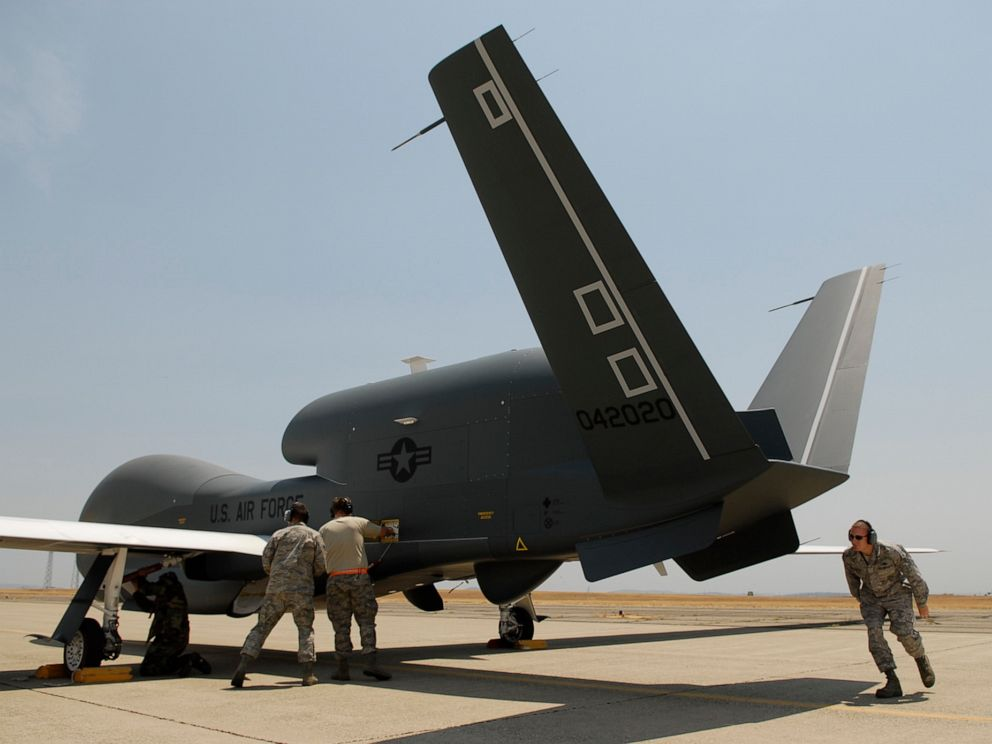 PHOTO: In a Monday, June 30, 2008, file photo, Beale Air Force Base Airmen work on an RQ-4 Global Hawk into its hangar at Beale Air Force Base in Yuba County, Calif.