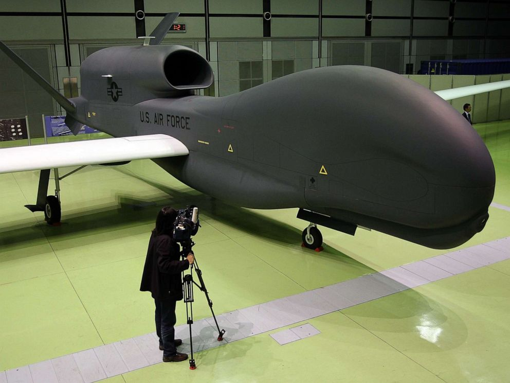 PHOTO: A full-scale model of The RQ-4 Global Hawk unmanned plane is displayed during a presentation at PiO Exhibition Center on March 24, 2010 in Tokyo, Japan.