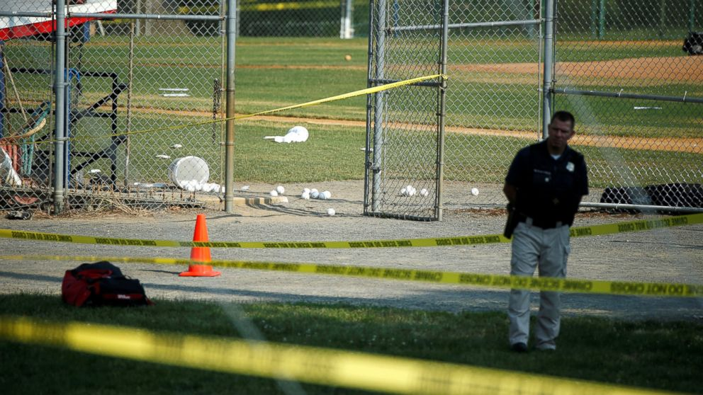 A police officer at the scene of a shooting where a gunman opened fire on members of Congress during a baseball practice in Alexandria, Va., near Washington, D.C., June 14, 2017.