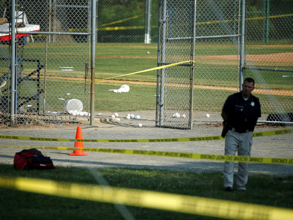 PHOTO: A police officer at the scene of a shooting where a gunman opened fire on members of Congress during a baseball practice in Alexandria, Va., near Washington, D.C., June 14, 2017.