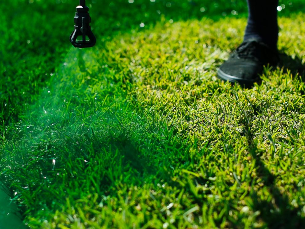 PHOTO: Drew McClellan of A lucky Lawn applies green dye onto drought affected grass at a home in Santa Fe Springs, Calif., Oct. 1, 2014.