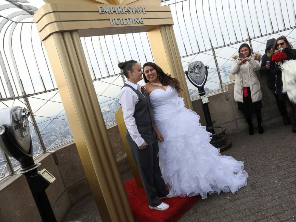 PHOTO: Krista Owens and Danielle Reno smile after exchanging vows at their Valentines Day wedding ceremony on top of the Empire State Building in New York, Feb. 14, 2017.