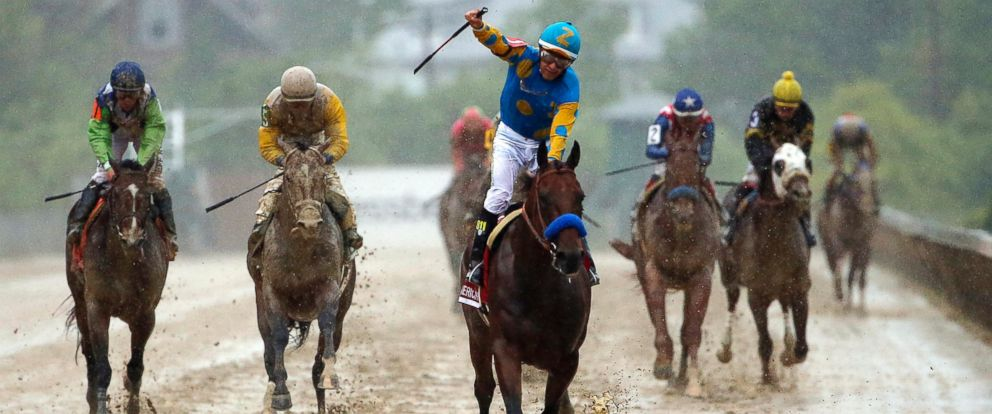 PHOTO: Victor Espinoza rides American Pharoah to victory at the 140th Preakness Stakes at Pimlico Race Course in Baltimore on May 16, 2015.