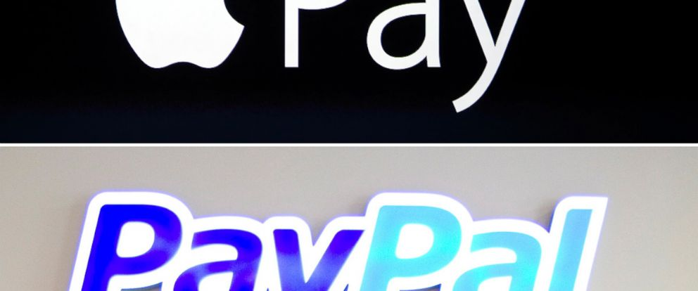 PHOTO: The logo for Apple Pay is seen in Cupertino, Calif. on Sept. 9, 2014 and the logo for PayPal is seen in Berlin on Jan. 29, 2014.