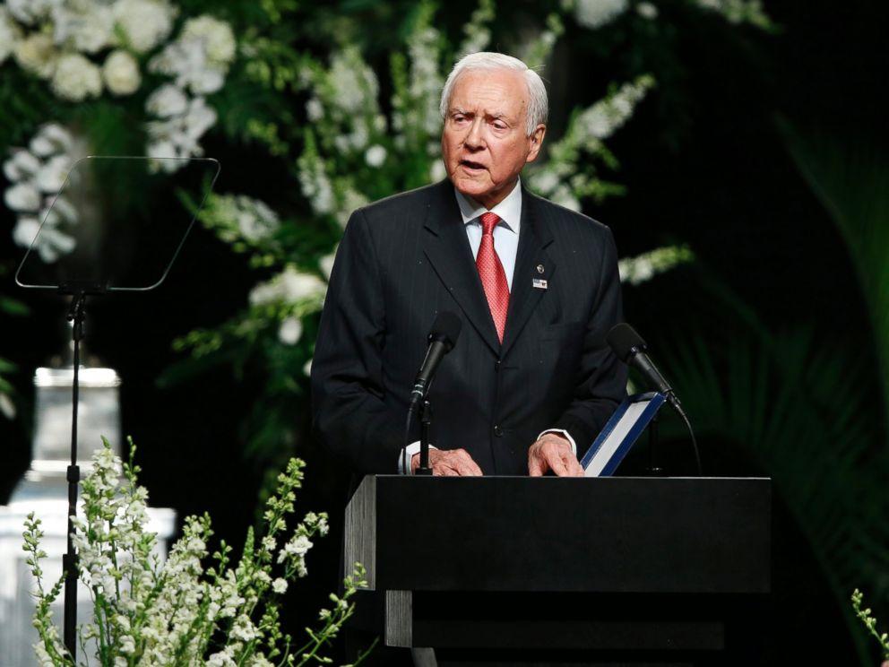 PHOTO: Senator Orrin Hatch speaks during the Muhammad Ali funeral service in Louisville, Kentucky, June 10, 2016.