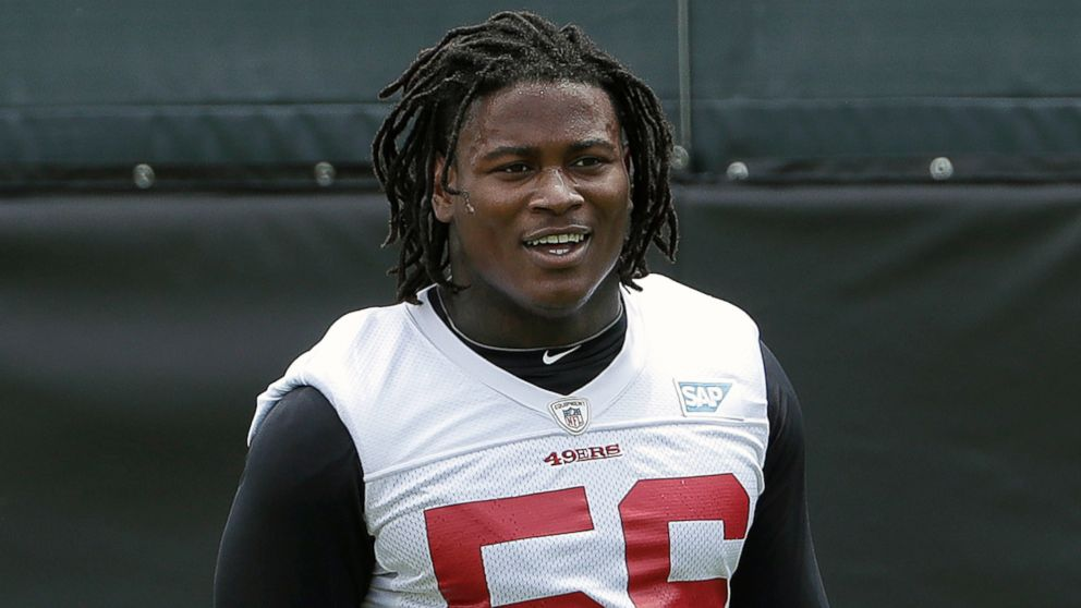 San Francisco 49ers linebacker Reuben Foster walks on the field during a practice at the team's NFL football training facility in Santa Clara, Calif., May 30, 2018. Foster was arrested Saturday, Nov. 24, at the team hotel on charges of domestic violence.
