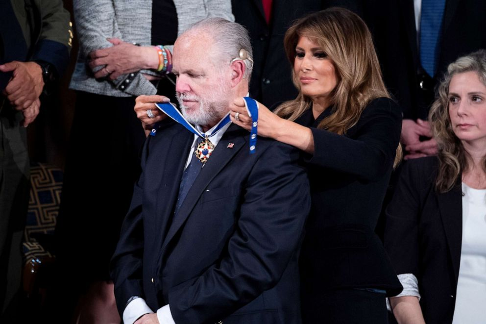 PHOTO: First lady Melania Trump awards Rush Limbaugh the Presidential Medal of Freedom during the State of the Union address in the House Chamber, Feb. 4, 2020.