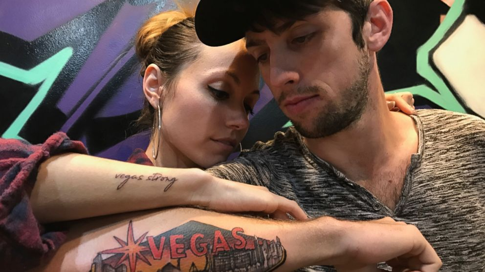 Russell Bleck and Breanna Skagen got tattoos in remembrance of the shooting in Las Vegas, on Oct. 1, 2017.
