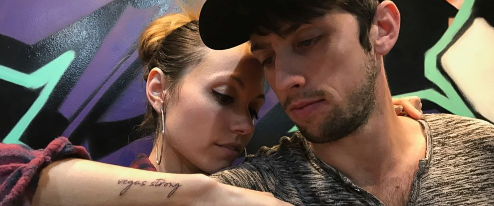 PHOTO: Russell Bleck and Breanna Skagen got tattoos in remembrance of the shooting in Las Vegas, on Oct. 1, 2017.