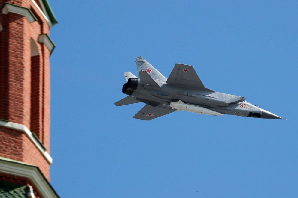 PHOTO: Russian MIG-31 fighter, carrying a Kinzhal (Dagger) high-precision hypersonic airballistic missile, flies over Red Square during the Victory Day parade in Moscow, May 9, 2018.