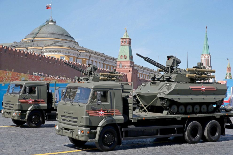 PHOTO: Russias newest robotic complex Uran-9 takes part in the Victory Day military parade in the Red Square in Moscow, May 9, 2018.