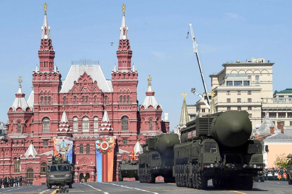 PHOTO: Russian Yars RS-24 intercontinental ballistic missile systems parade through Red Square during the Victory Day military parade in Moscow, May 9, 2018.