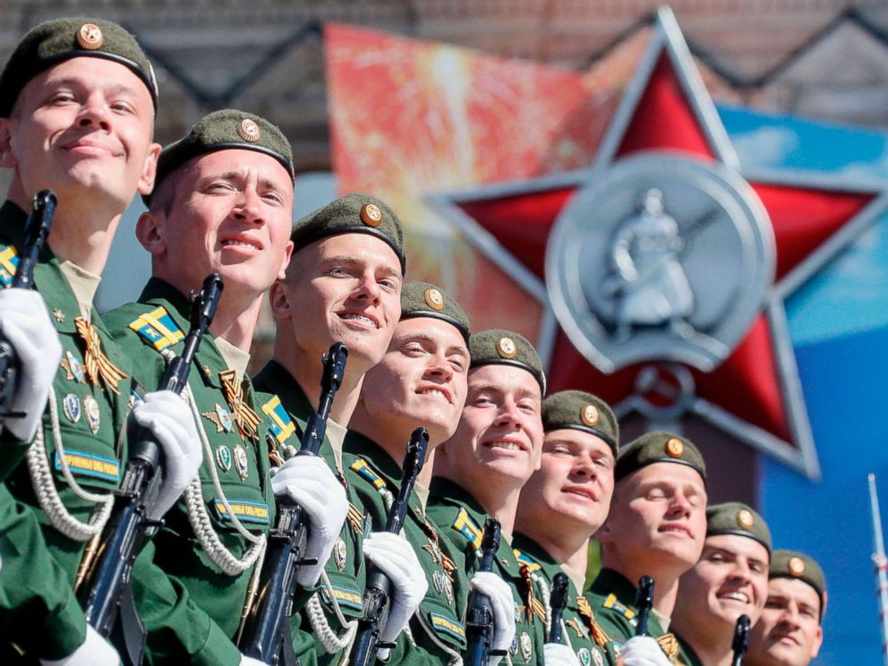 PHOTO: Russian servicemen march at Red Square during the Victory Day military parade in Moscow, May 9, 2018.